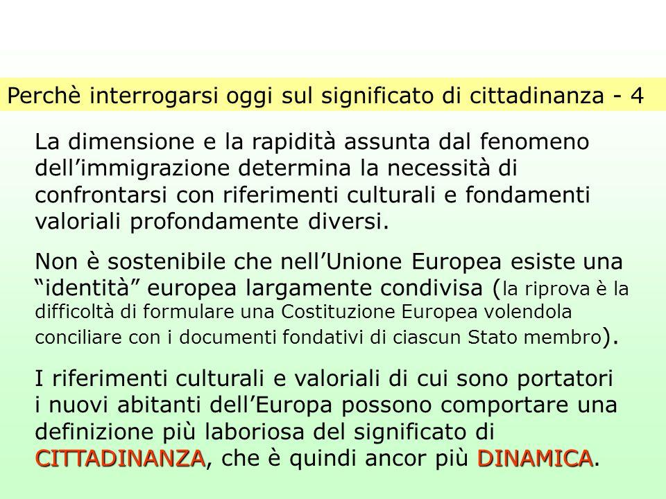 Perchè interrogarsi oggi sul significato di cittadinanza - 4 La dimensione e la rapidità assunta dal fenomeno dell'immigrazione determina la necessità