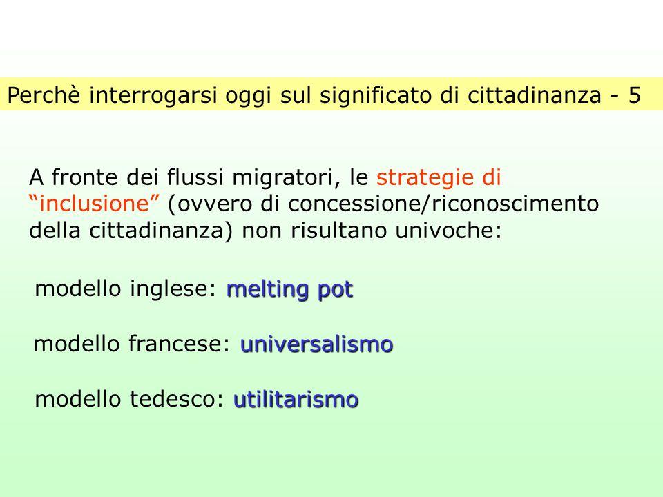 """Perchè interrogarsi oggi sul significato di cittadinanza - 5 A fronte dei flussi migratori, le strategie di """"inclusione"""" (ovvero di concessione/ricono"""