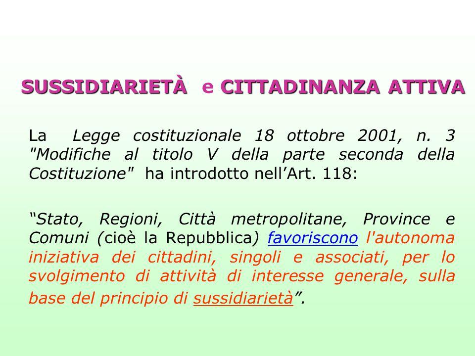 SUSSIDIARIETÀCITTADINANZA ATTIVA SUSSIDIARIETÀ e CITTADINANZA ATTIVA La Legge costituzionale 18 ottobre 2001, n. 3