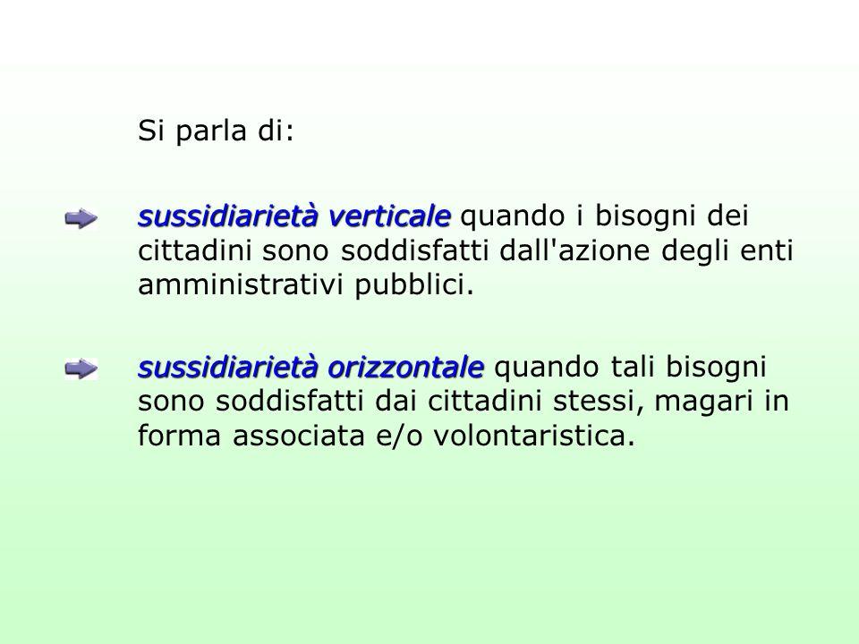Si parla di: sussidiarietà verticale sussidiarietà verticale quando i bisogni dei cittadini sono soddisfatti dall'azione degli enti amministrativi pub