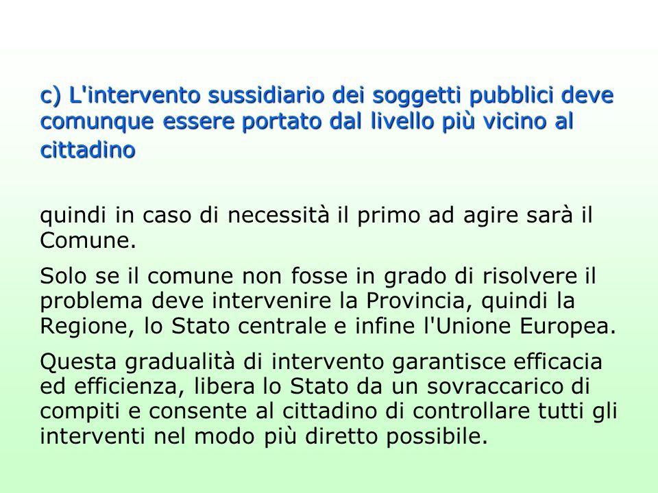 c) L'intervento sussidiario dei soggetti pubblici deve comunque essere portato dal livello più vicino al cittadino quindi in caso di necessità il prim