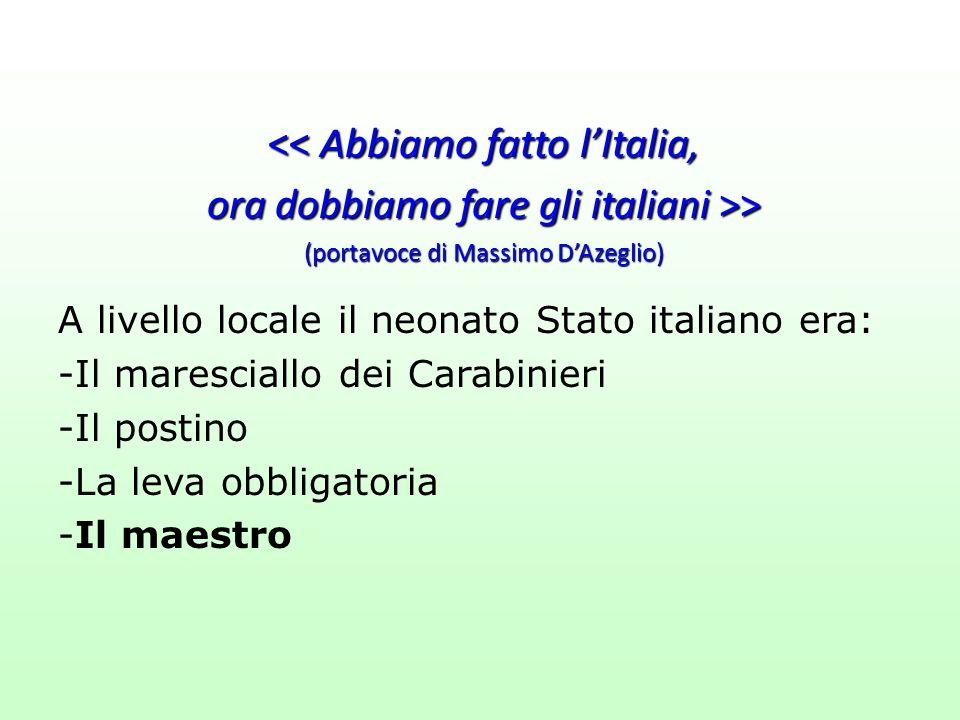 << Abbiamo fatto l'Italia, ora dobbiamo fare gli italiani >> (portavoce di Massimo D'Azeglio) A livello locale il neonato Stato italiano era: -Il mare
