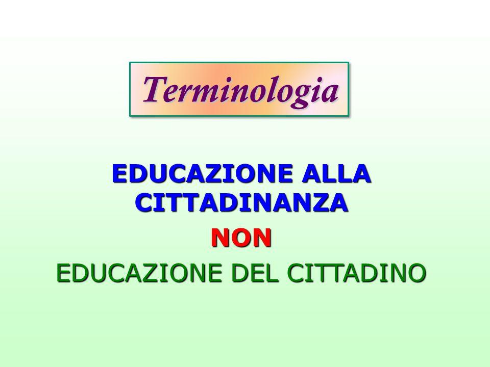 TerminologiaTerminologia EDUCAZIONE ALLA CITTADINANZA NON EDUCAZIONE DEL CITTADINO