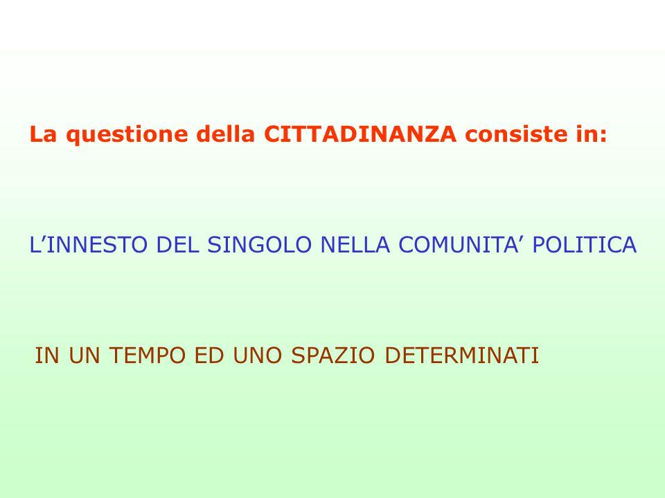 La questione della CITTADINANZA consiste in: L'INNESTO DEL SINGOLO NELLA COMUNITA' POLITICA IN UN TEMPO ED UNO SPAZIO DETERMINATI