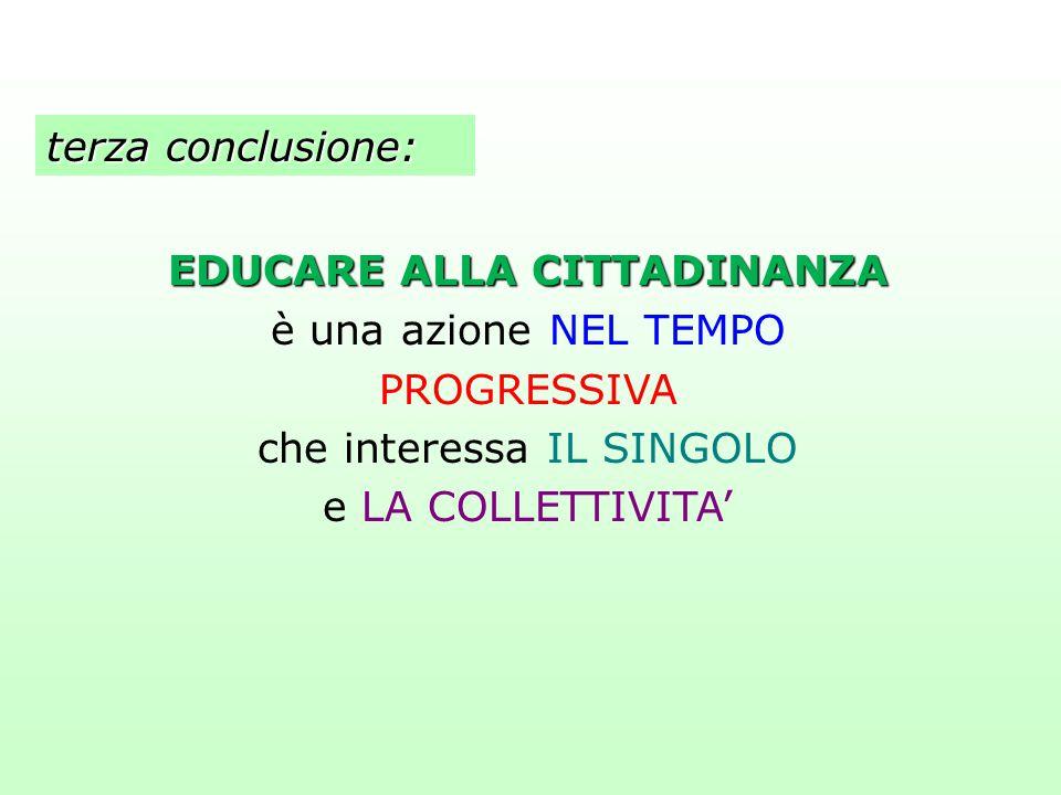 terza conclusione: EDUCARE ALLA CITTADINANZA è una azione NEL TEMPO PROGRESSIVA che interessa IL SINGOLO e LA COLLETTIVITA'