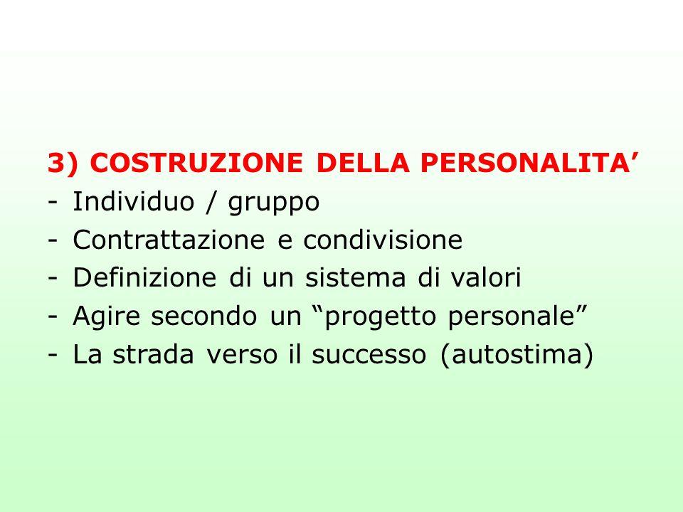 """3) COSTRUZIONE DELLA PERSONALITA' -Individuo / gruppo -Contrattazione e condivisione -Definizione di un sistema di valori -Agire secondo un """"progetto"""