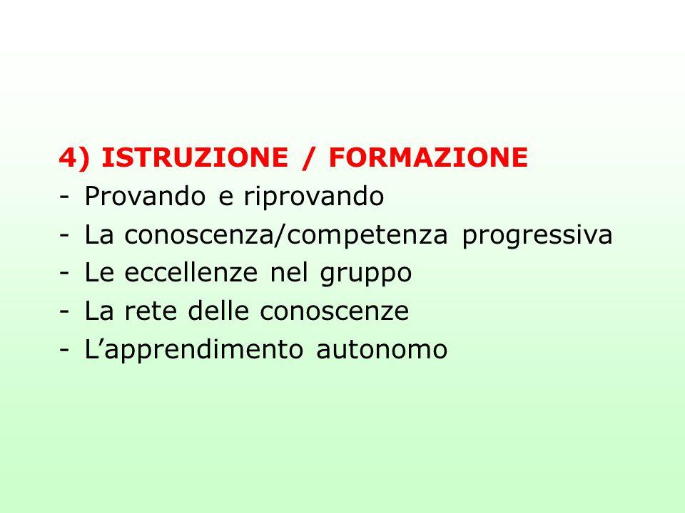 4) ISTRUZIONE / FORMAZIONE -Provando e riprovando -La conoscenza/competenza progressiva -Le eccellenze nel gruppo -La rete delle conoscenze -L'apprend