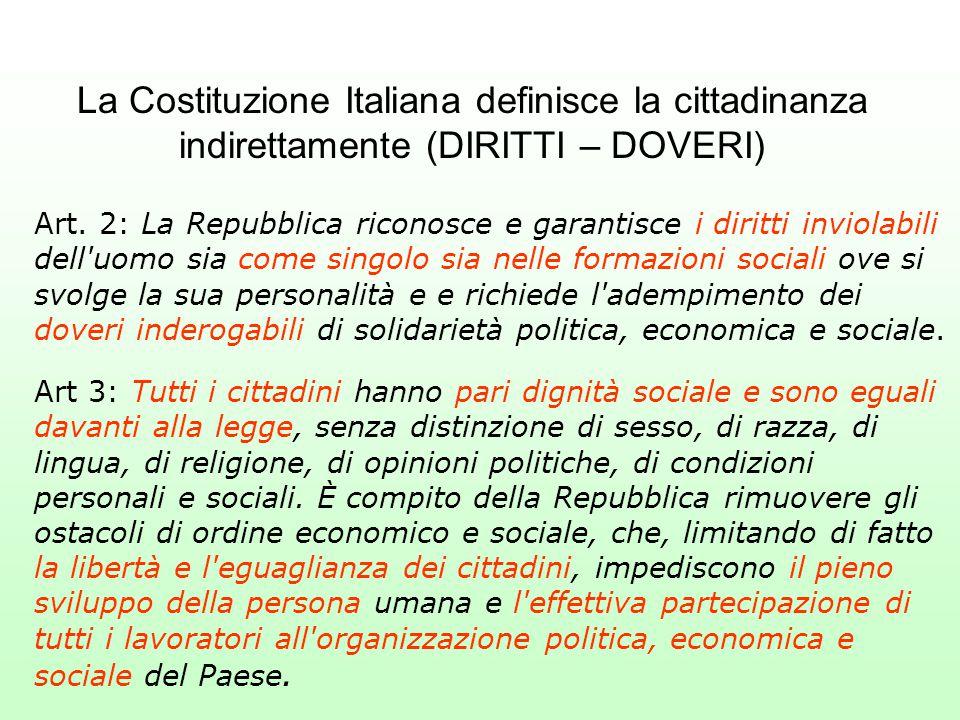 La Costituzione Italiana definisce la cittadinanza indirettamente (DIRITTI – DOVERI) Art. 2: La Repubblica riconosce e garantisce i diritti inviolabil