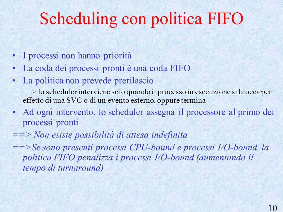 10 Scheduling con politica FIFO I processi non hanno priorità La coda dei processi pronti è una coda FIFO La politica non prevede prerilascio ==> lo scheduler interviene solo quando il processo in esecuzione si blocca per effetto di una SVC o di un evento esterno, oppure termina Ad ogni intervento, lo scheduler assegna il processore al primo dei processi pronti ==> Non esiste possibilità di attesa indefinita ==>Se sono presenti processi CPU-bound e processi I/O-bound, la politica FIFO penalizza i processi I/O-bound (aumentando il tempo di turnaround)