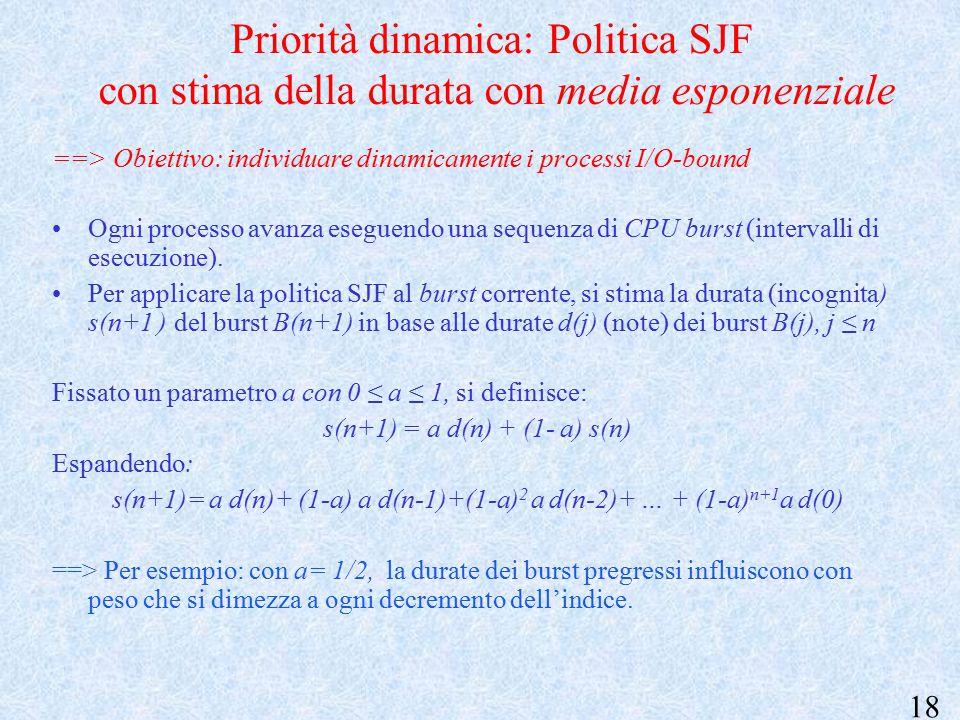 18 Priorità dinamica: Politica SJF con stima della durata con media esponenziale ==> Obiettivo: individuare dinamicamente i processi I/O-bound Ogni processo avanza eseguendo una sequenza di CPU burst (intervalli di esecuzione).