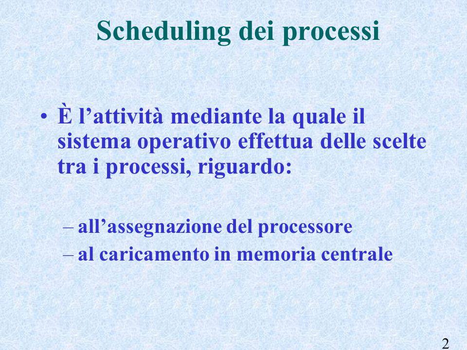 2 Scheduling dei processi È l'attività mediante la quale il sistema operativo effettua delle scelte tra i processi, riguardo: –all'assegnazione del processore –al caricamento in memoria centrale