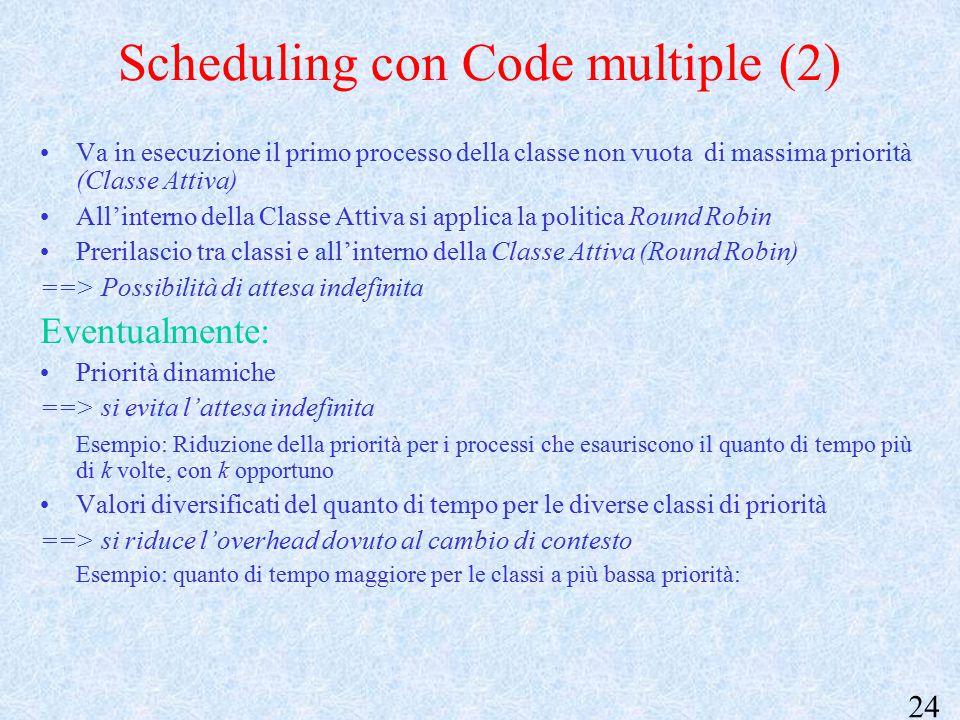 24 Scheduling con Code multiple (2) Va in esecuzione il primo processo della classe non vuota di massima priorità (Classe Attiva) All'interno della Classe Attiva si applica la politica Round Robin Prerilascio tra classi e all'interno della Classe Attiva (Round Robin) ==> Possibilità di attesa indefinita Eventualmente: Priorità dinamiche ==> si evita l'attesa indefinita Esempio: Riduzione della priorità per i processi che esauriscono il quanto di tempo più di k volte, con k opportuno Valori diversificati del quanto di tempo per le diverse classi di priorità ==> si riduce l'overhead dovuto al cambio di contesto Esempio: quanto di tempo maggiore per le classi a più bassa priorità: