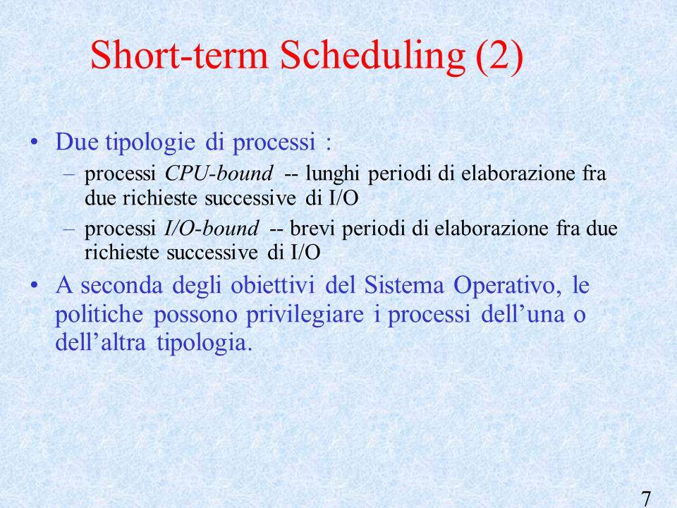 7 Short-term Scheduling (2) Due tipologie di processi : –processi CPU-bound -- lunghi periodi di elaborazione fra due richieste successive di I/O –processi I/O-bound -- brevi periodi di elaborazione fra due richieste successive di I/O A seconda degli obiettivi del Sistema Operativo, le politiche possono privilegiare i processi dell'una o dell'altra tipologia.
