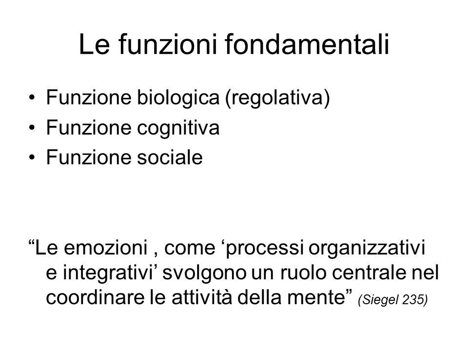 Le funzioni fondamentali Funzione biologica (regolativa) Funzione cognitiva Funzione sociale Le emozioni, come 'processi organizzativi e integrativi' svolgono un ruolo centrale nel coordinare le attività della mente (Siegel 235)