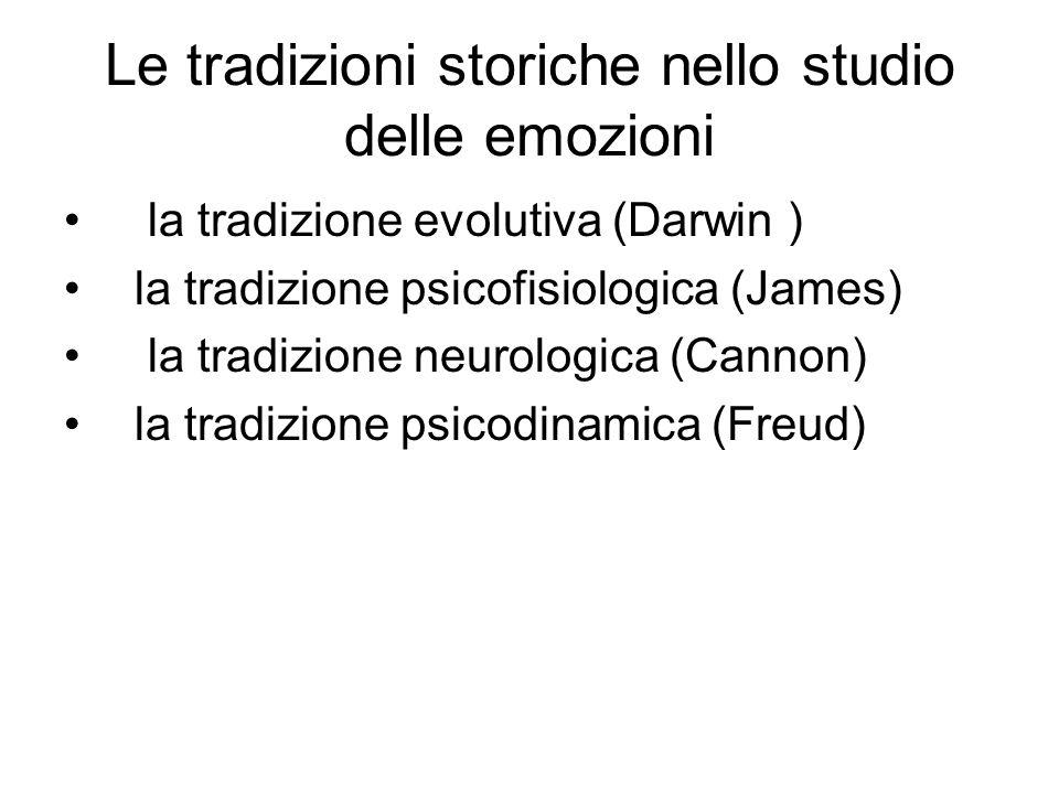 Le tradizioni storiche nello studio delle emozioni la tradizione evolutiva (Darwin ) la tradizione psicofisiologica (James) la tradizione neurologica (Cannon) la tradizione psicodinamica (Freud)