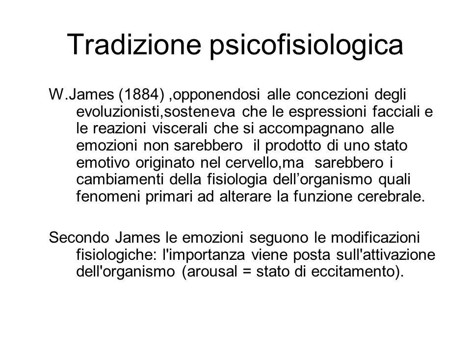 Tradizione psicofisiologica W.James (1884),opponendosi alle concezioni degli evoluzionisti,sosteneva che le espressioni facciali e le reazioni viscerali che si accompagnano alle emozioni non sarebbero il prodotto di uno stato emotivo originato nel cervello,ma sarebbero i cambiamenti della fisiologia dell'organismo quali fenomeni primari ad alterare la funzione cerebrale.