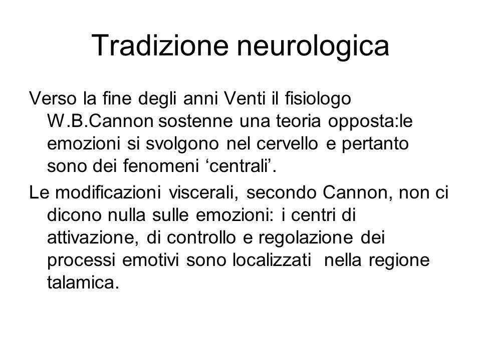 Tradizione neurologica Verso la fine degli anni Venti il fisiologo W.B.Cannon sostenne una teoria opposta:le emozioni si svolgono nel cervello e pertanto sono dei fenomeni 'centrali'.