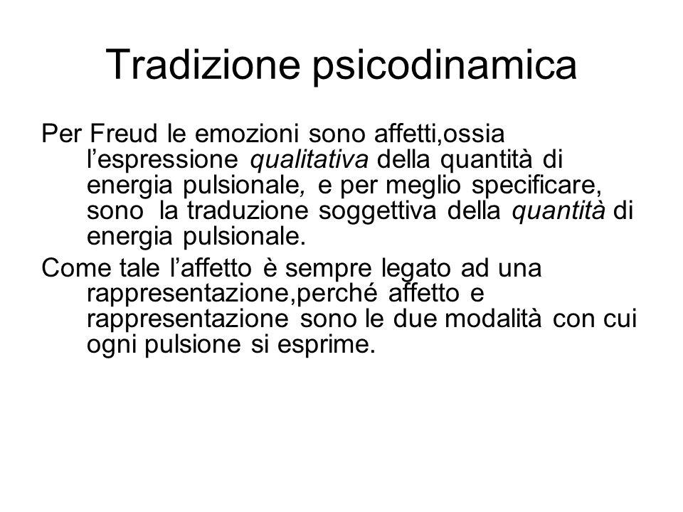 Tradizione psicodinamica Per Freud le emozioni sono affetti,ossia l'espressione qualitativa della quantità di energia pulsionale, e per meglio specificare, sono la traduzione soggettiva della quantità di energia pulsionale.