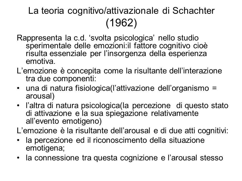 La teoria cognitivo/attivazionale di Schachter (1962) Rappresenta la c.d. 'svolta psicologica' nello studio sperimentale delle emozioni:il fattore cog