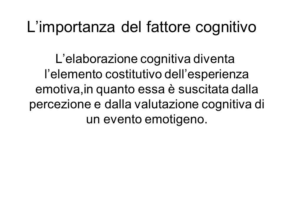 L'importanza del fattore cognitivo L'elaborazione cognitiva diventa l'elemento costitutivo dell'esperienza emotiva,in quanto essa è suscitata dalla percezione e dalla valutazione cognitiva di un evento emotigeno.
