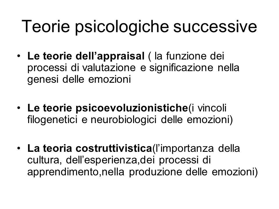 Teorie psicologiche successive Le teorie dell'appraisal ( la funzione dei processi di valutazione e significazione nella genesi delle emozioni Le teor