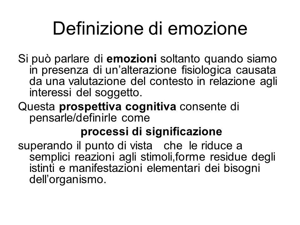 Definizione di emozione Si può parlare di emozioni soltanto quando siamo in presenza di un'alterazione fisiologica causata da una valutazione del contesto in relazione agli interessi del soggetto.