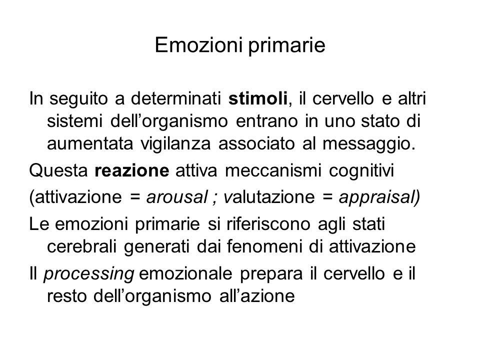 Emozioni primarie In seguito a determinati stimoli, il cervello e altri sistemi dell'organismo entrano in uno stato di aumentata vigilanza associato a