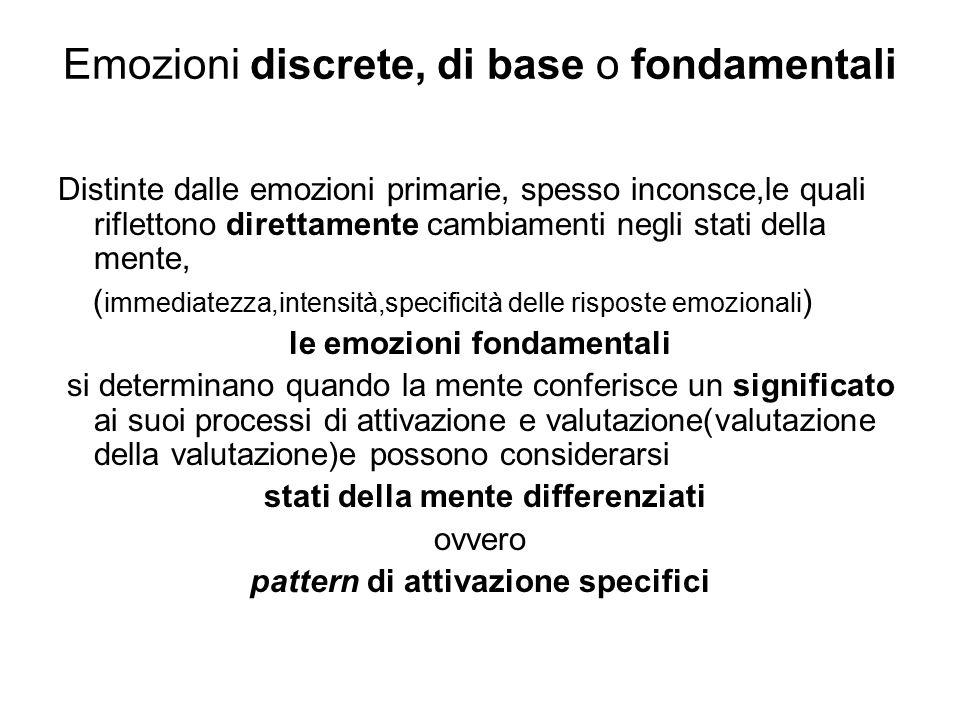 Emozioni discrete, di base o fondamentali Distinte dalle emozioni primarie, spesso inconsce,le quali riflettono direttamente cambiamenti negli stati d