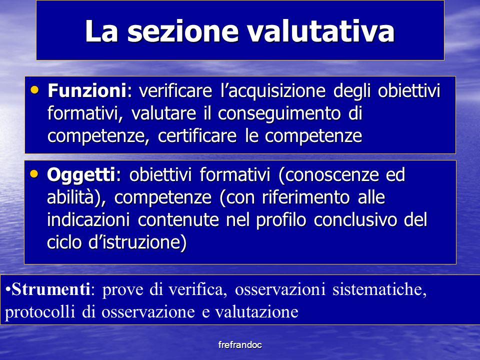 frefrandoc La sezione valutativa Funzioni: verificare l'acquisizione degli obiettivi formativi, valutare il conseguimento di competenze, certificare l
