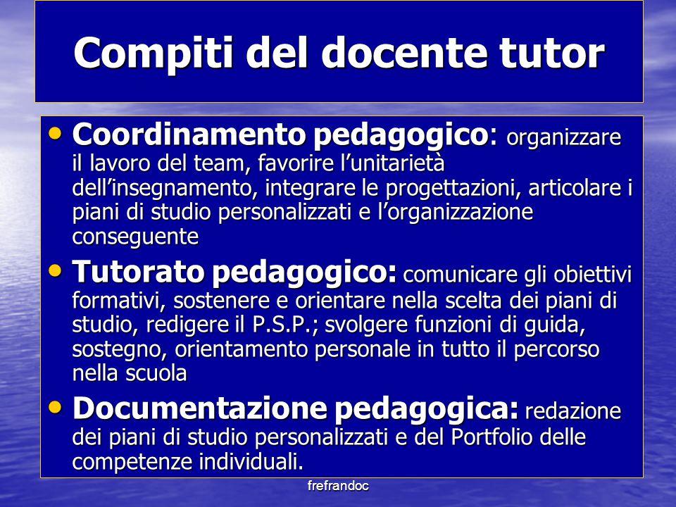 frefrandoc Compiti del docente tutor Coordinamento pedagogico: organizzare il lavoro del team, favorire l'unitarietà dell'insegnamento, integrare le p