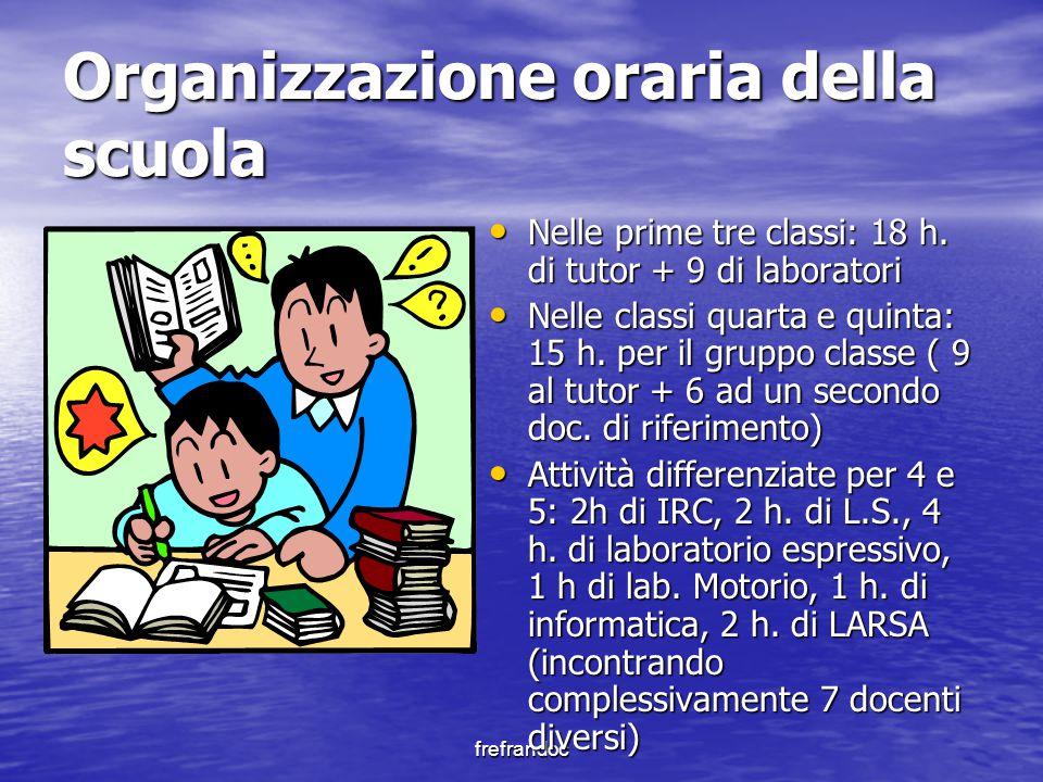 frefrandoc Organizzazione oraria della scuola Nelle prime tre classi: 18 h. di tutor + 9 di laboratori Nelle prime tre classi: 18 h. di tutor + 9 di l