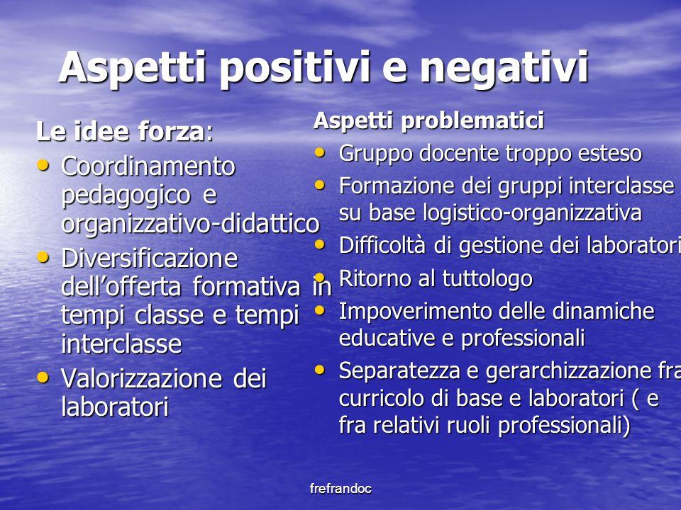 frefrandoc Aspetti positivi e negativi Le idee forza: Coordinamento pedagogico e organizzativo-didattico Coordinamento pedagogico e organizzativo-dida