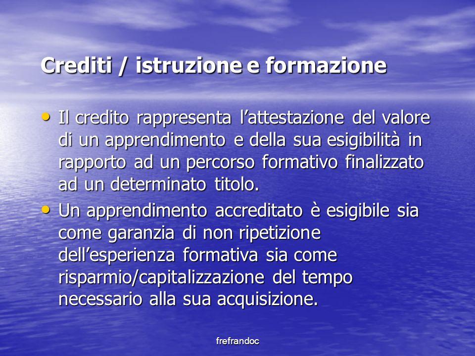 frefrandoc Crediti / istruzione e formazione Il credito rappresenta l'attestazione del valore di un apprendimento e della sua esigibilità in rapporto