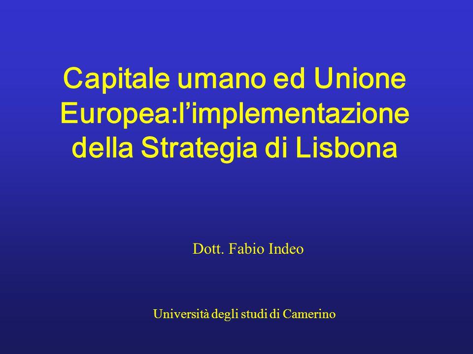 Dott. Fabio Indeo Università degli studi di Camerino Capitale umano ed Unione Europea:l'implementazione della Strategia di Lisbona