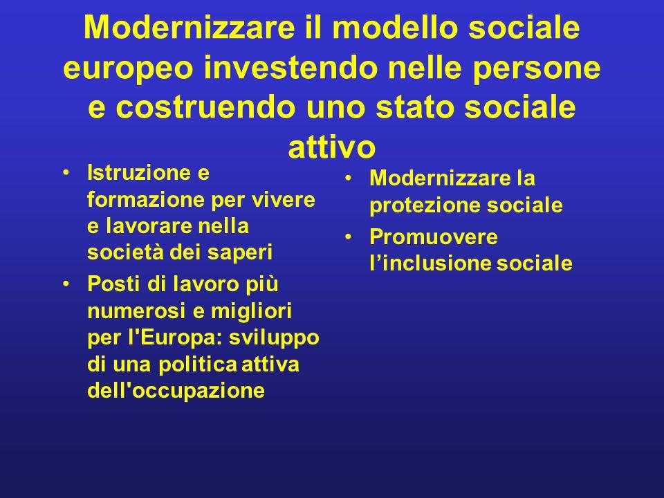 Modernizzare il modello sociale europeo investendo nelle persone e costruendo uno stato sociale attivo Istruzione e formazione per vivere e lavorare n