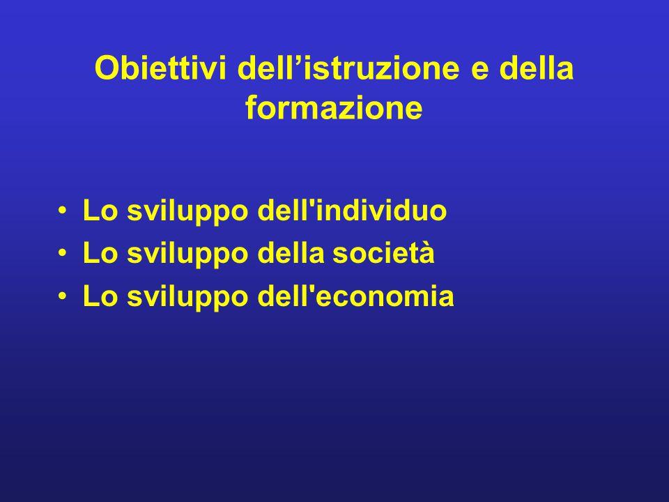 Obiettivi dell'istruzione e della formazione Lo sviluppo dell'individuo Lo sviluppo della società Lo sviluppo dell'economia