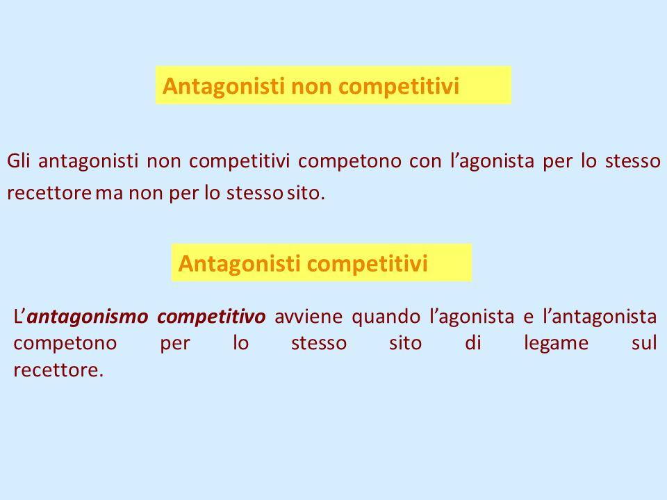 Antagonisti non competitivi Gli antagonisti non competitivi competono con l'agonista per lo stesso recettore ma non per lo stesso sito.