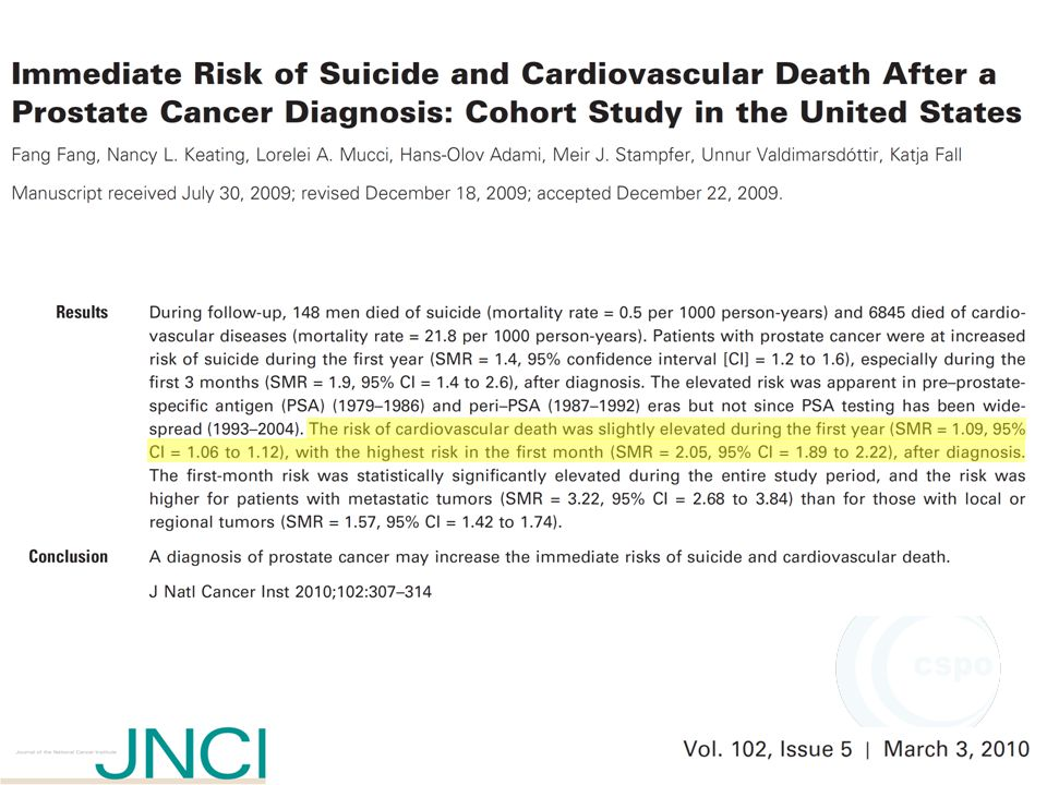 Significant increment in incidence but stable (or reduced) mortality Pca carries a life time risk of death: 3%; however, from autopsy series in men > 50 yrs: Pca > 40% (Landis et al, CA Cancer J Clin, 1999) One retrospective study (Chodak et al, NEJM,1994) and two prospective studies (Albertsen et al, JAMA, 2006; Johansson et al, JAMA, 2004) suggest localized Pca of low GPS has a low rate of progression to symptomatic or fatal disease within 15-20 yrs from diagnosis Esiste il rischio di sovratrattamento?