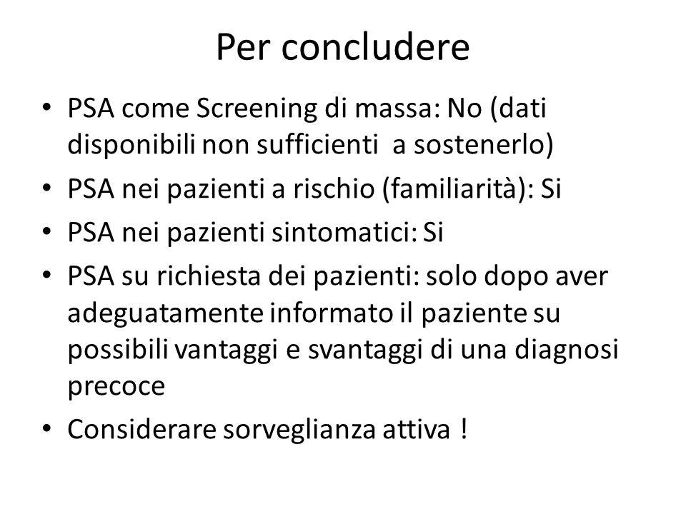 Per concludere PSA come Screening di massa: No (dati disponibili non sufficienti a sostenerlo) PSA nei pazienti a rischio (familiarità): Si PSA nei pa