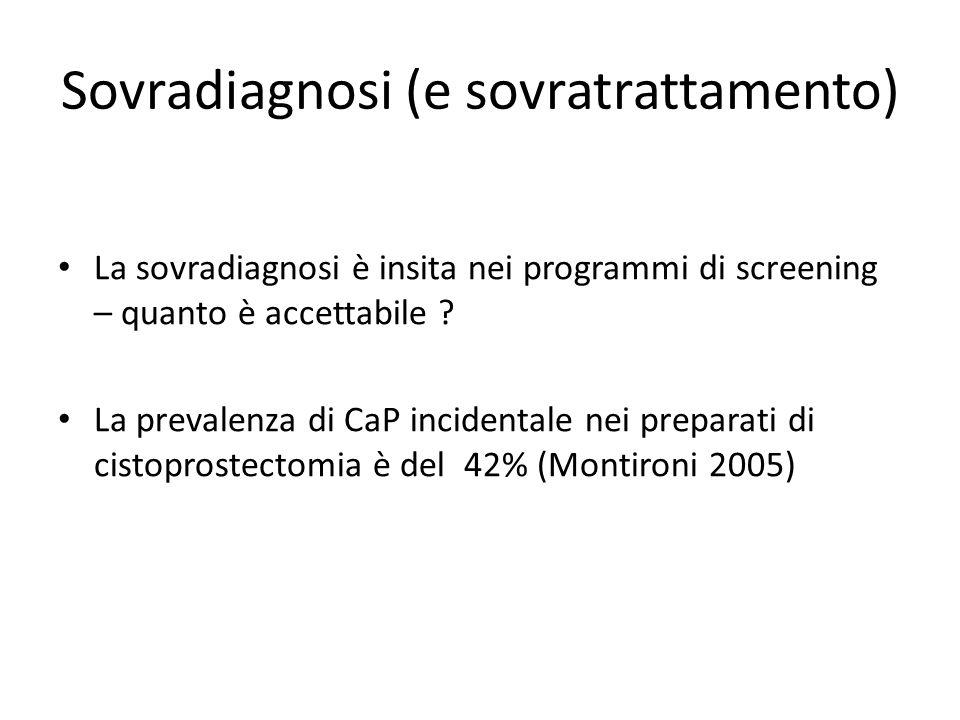Sovradiagnosi (e sovratrattamento) La sovradiagnosi è insita nei programmi di screening – quanto è accettabile ? La prevalenza di CaP incidentale nei