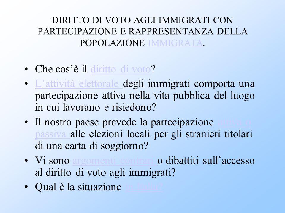 DIRITTO DI VOTO AGLI IMMIGRATI CON PARTECIPAZIONE E RAPPRESENTANZA DELLA POPOLAZIONE IMMIGRATA.IMMIGRATA Che cos'è il diritto di voto?diritto di voto