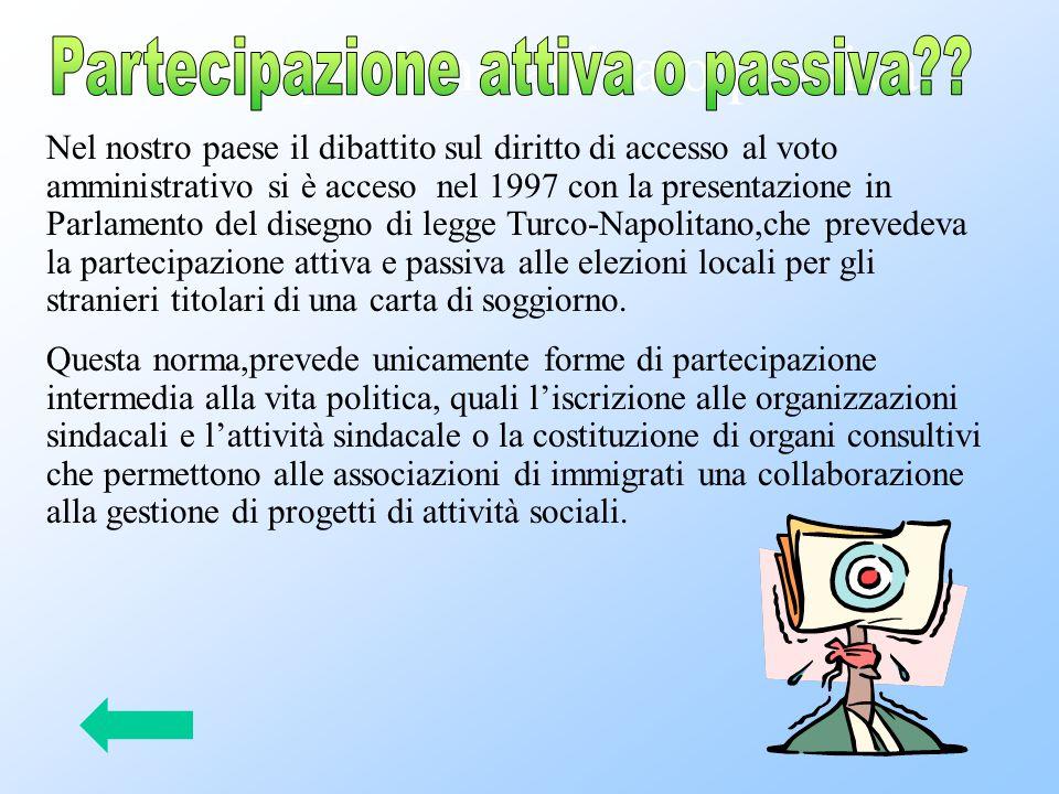Argomenti contrari: Tra gli argomenti contrari, il più forte è senza dubbio la difesa del concetto di cittadinanza,con l'esclusività del diritto di voto per quanti appartengono ad una certa comunità politica.Gli stranieri possono accedere a questa comunità solo sulla base di una esplicita dichiarazione di lealtà, la cosiddetta naturalizzazione ,a cui consegue l'acquisizione della nuova cittadinanza.In Italia tale periodo è di dieci anni:fino al 1992,era di cinque anni,anche nel nostro paese, ma la legge n°91/92 ha reso più difficile l'accesso alla cittadinanza(e quindi al voto)per gli immigrati.Un secondo argomento di dibattito è quello della reciprocità: in pratica, il diritto di voto amministrativo avrebbe riconosciuto solo i cittadini di quei paesi che,a loro volta, mettono al voto gli immigrati italiani;