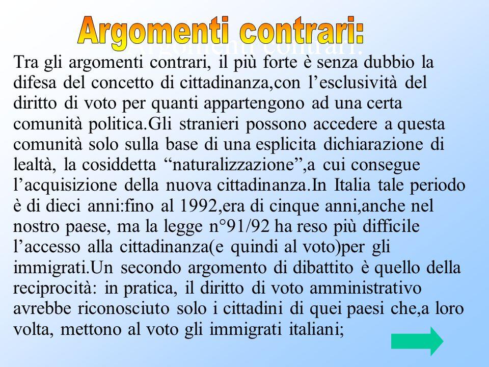 Argomenti contrari: Tra gli argomenti contrari, il più forte è senza dubbio la difesa del concetto di cittadinanza,con l'esclusività del diritto di vo