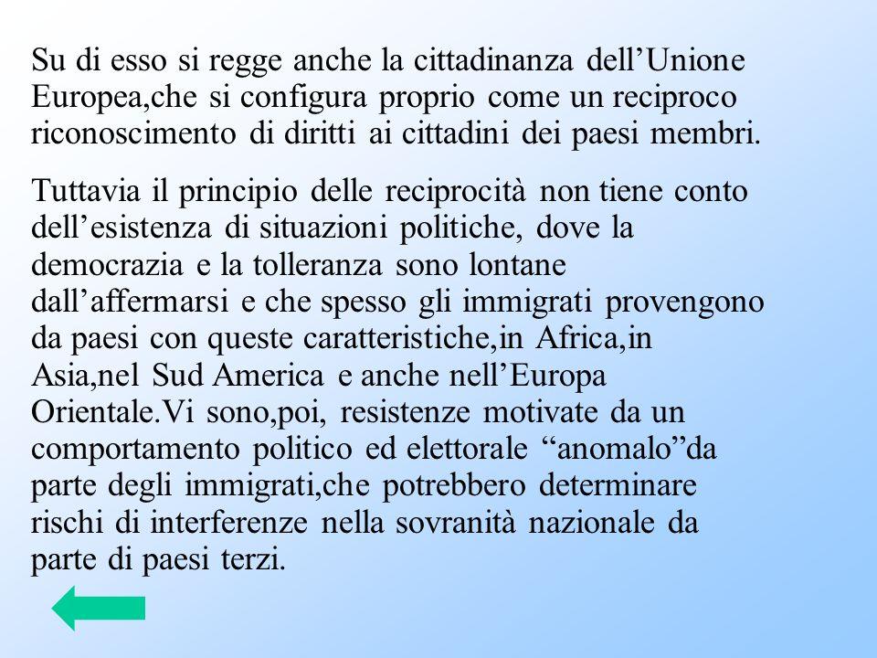 Su di esso si regge anche la cittadinanza dell'Unione Europea,che si configura proprio come un reciproco riconoscimento di diritti ai cittadini dei pa