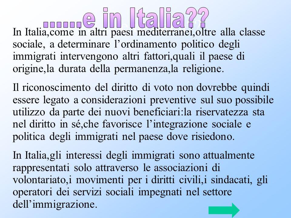…….e in Italia?? In Italia,come in altri paesi mediterranei,oltre alla classe sociale, a determinare l'ordinamento politico degli immigrati intervengo