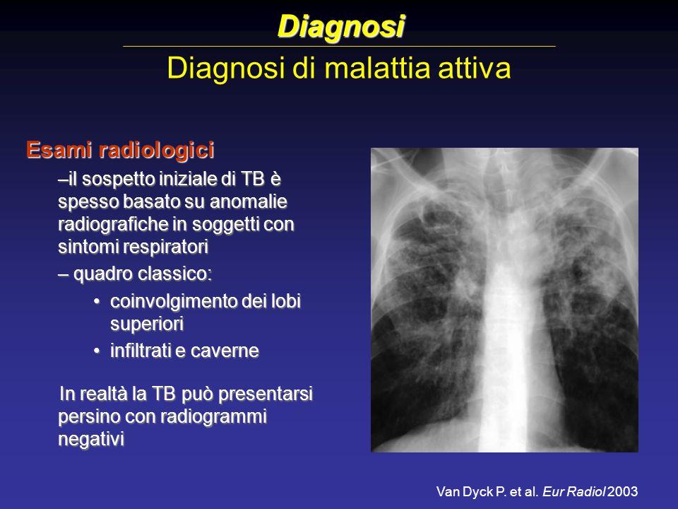 Diagnosi di malattia attiva Diagnosi Esami radiologici –il sospetto iniziale di TB è spesso basato su anomalie radiografiche in soggetti con sintomi r