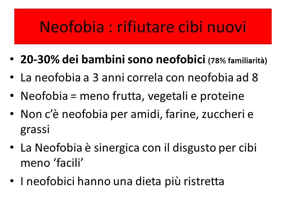 Neofobia : rifiutare cibi nuovi 20-30% dei bambini sono neofobici (78% familiarità) La neofobia a 3 anni correla con neofobia ad 8 Neofobia = meno fru