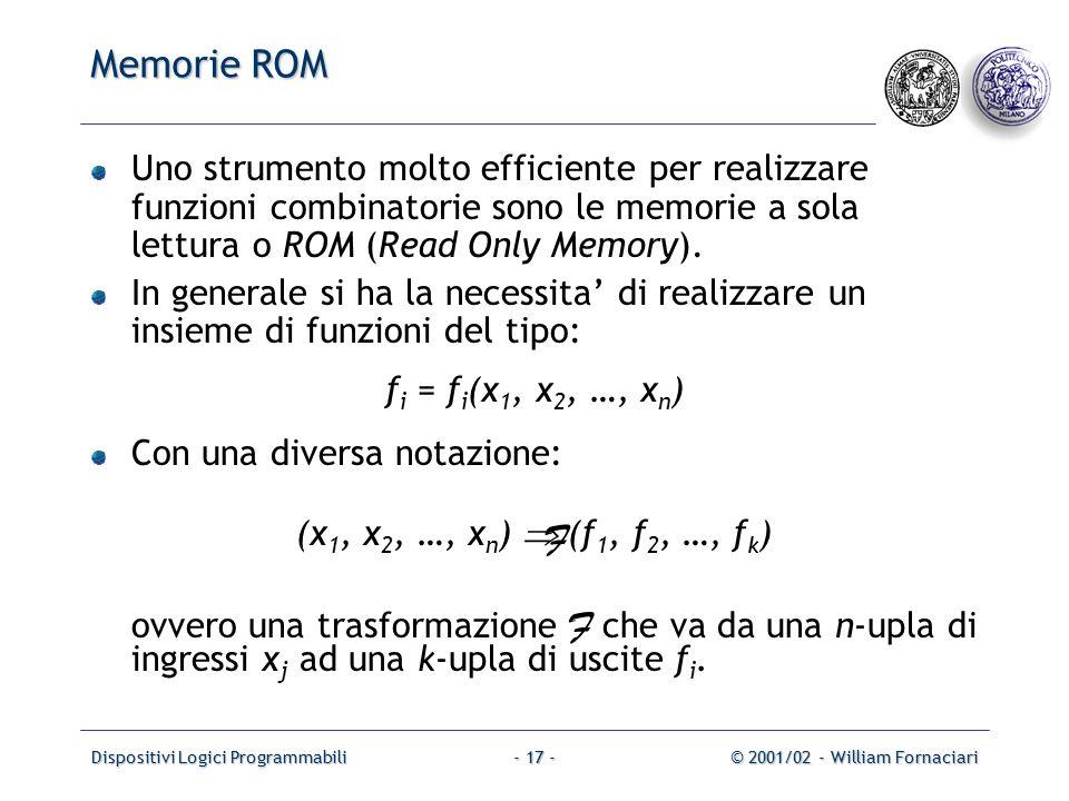 Dispositivi Logici Programmabili© 2001/02 - William Fornaciari- 17 - Memorie ROM Uno strumento molto efficiente per realizzare funzioni combinatorie sono le memorie a sola lettura o ROM (Read Only Memory).