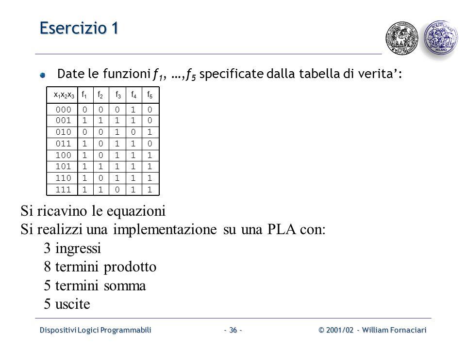 Dispositivi Logici Programmabili© 2001/02 - William Fornaciari- 36 - Esercizio 1 Date le funzioni f 1, …,f 5 specificate dalla tabella di verita': x 1 x 2 x 3 f 1 f 2 f 3 f 4 f 5 000 0 0 0 1 0 001 1 1 1 1 0 010 0 0 1 0 1 011 1 0 1 1 0 100 1 0 1 1 1 101 1 1 1 1 1 110 1 0 1 1 1 111 1 1 0 1 1 Si ricavino le equazioni Si realizzi una implementazione su una PLA con: 3 ingressi 8 termini prodotto 5 termini somma 5 uscite