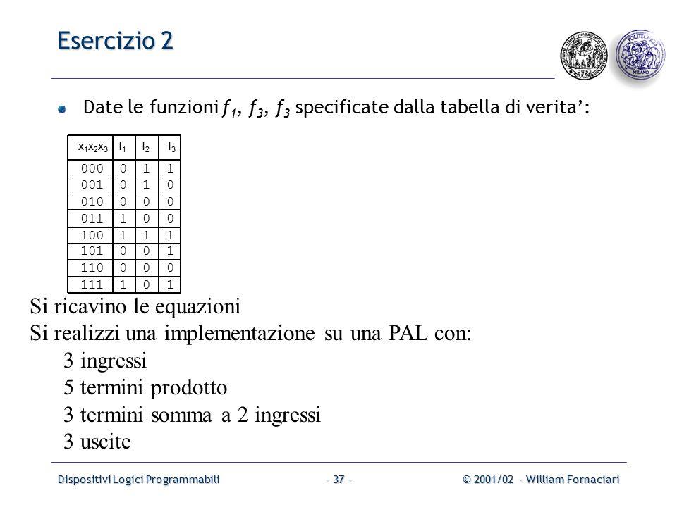 Dispositivi Logici Programmabili© 2001/02 - William Fornaciari- 37 - Esercizio 2 Date le funzioni f 1, f 3, f 3 specificate dalla tabella di verita': x 1 x 2 x 3 f 1 f 2 f 3 000 0 1 1 001 0 1 0 010 0 0 0 011 1 0 0 100 1 1 1 101 0 0 1 110 0 0 0 111 1 0 1 Si ricavino le equazioni Si realizzi una implementazione su una PAL con: 3 ingressi 5 termini prodotto 3 termini somma a 2 ingressi 3 uscite
